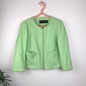 Zara Basic Green Tweed Open Jacket